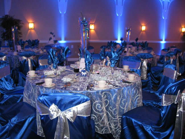 White And Silver Wedding Theme: Blue Wedding Reception Decorations