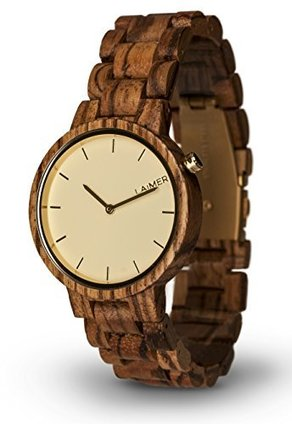 LAiMER Women's Wooden Watch MELANIE – Wrist Watch made of natural Zebrano Wood – Simple Elegance, Nature &Lifestyle