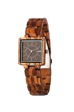 LAiMER Women Wooden Watch Limited Edition Box – Wrist Watch made of natural Zebrano Wood and Ear Studs with SWAROVSKICrystals