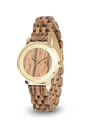 LAiMER Women's Wooden Watch JENNI – Wrist Watch made of natural Zebrano Wood with stainless Steel Case and SwarovskiCrystals