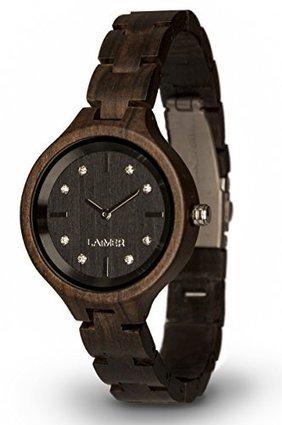 LAiMER Women's Wooden Watch MARIA DARK – Wrist Watch made of natural Maple Wood refined with Swarovski Crystals – Nature &Luxury